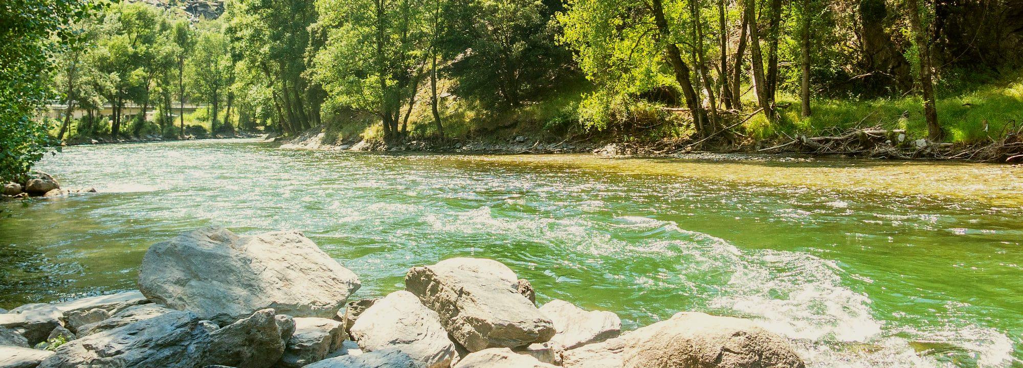 The Noguera Pallaresa and its strong rapids.