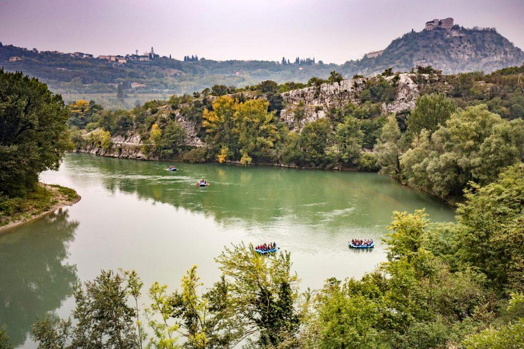 People rafting on the Adige river.