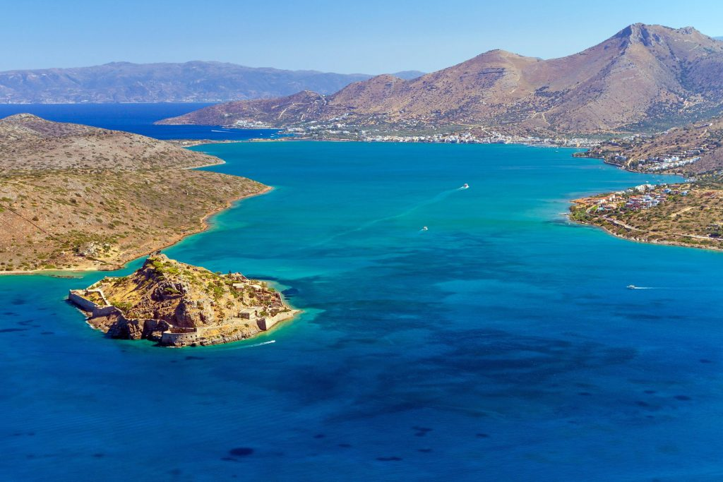 A photo was taken during a boat trip while snorkeling on the island of Spinalonga.