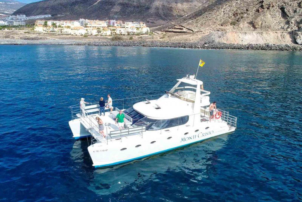 Ihr könnt Delfine und Wale auf den Kanarischen Inseln auch von einem Motorkatamaran aus beobachten.