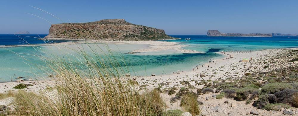 A panorama of the Balos lagoon, perfect for snorkelling.