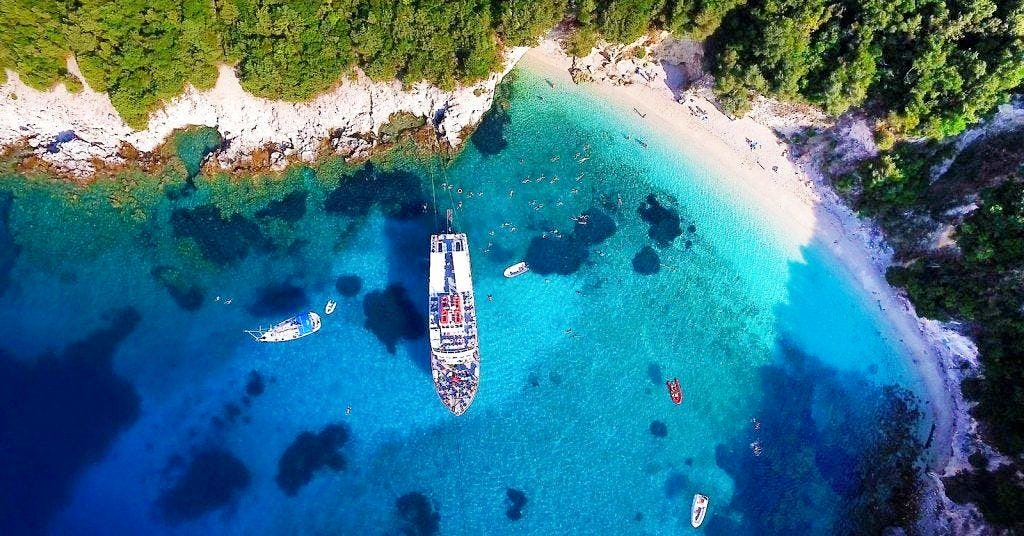 A panoramic view of the Blue Lagoon in Corfu, Greece, where you can snorkel.