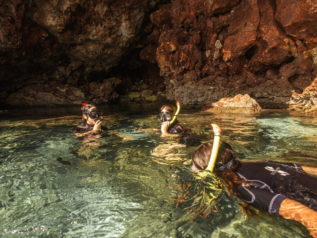 A group of kids go underwater during a snorkeling trip near Porto Cristo.