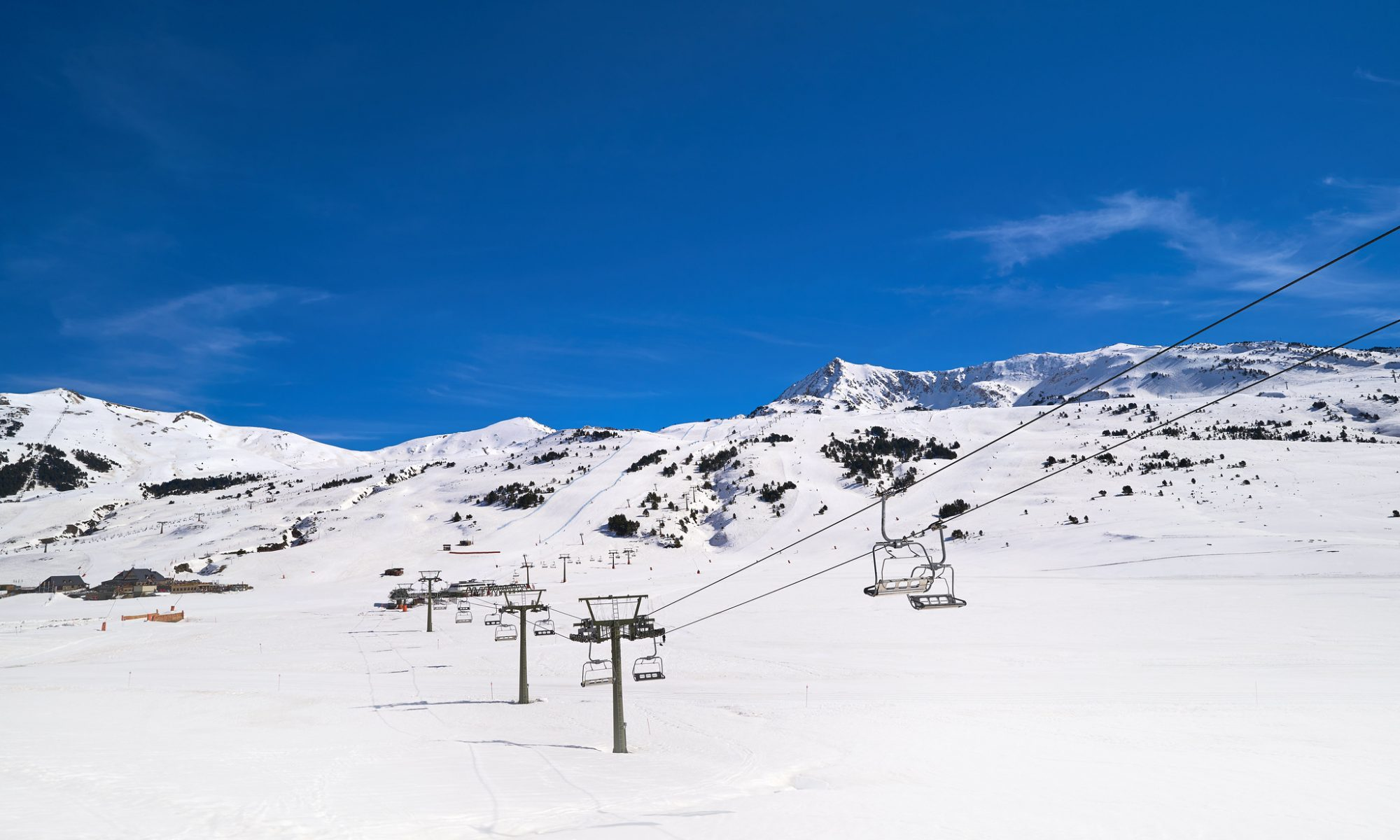 The beautiful landscape of Baqueira ski resort, a ideal spot for skiing in Spain.